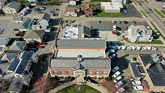 Aerial photo of the construction at the Main Library.